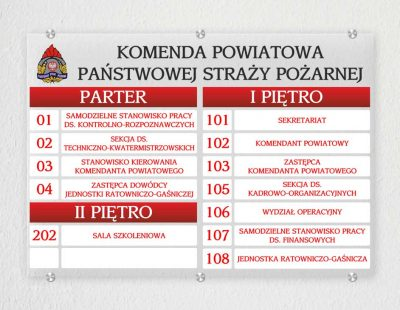 Tablica wykonana dla KP PSP w Piszu